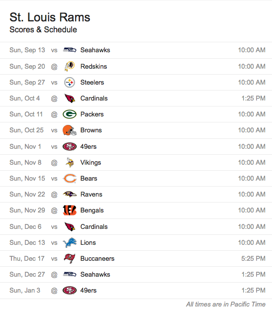 St. Louis Rams Schedule
