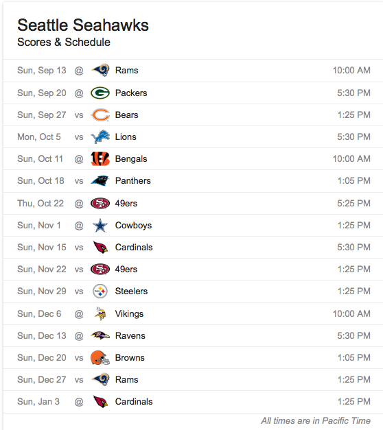 Seattle 2015 Schedule