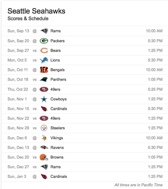 Seattle 2015 Schedule